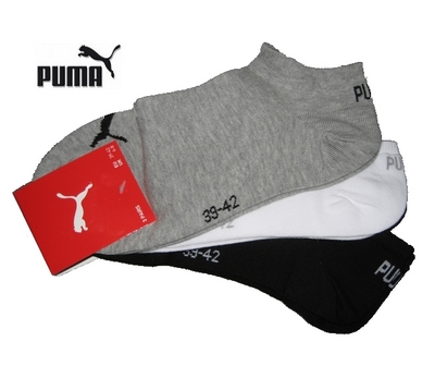 puma unisex socken sneaker 3paar gr 35 38 grau wei. Black Bedroom Furniture Sets. Home Design Ideas